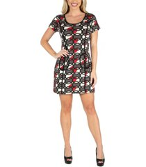 24seven comfort apparel women's short sleeve shift dress