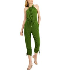 inc international concepts tie-neck halter jumpsuit, created for macy's