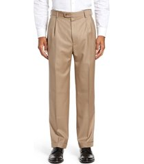 men's big & tall zanella bennett straight leg pleated dress pants, size 46 x - beige