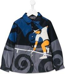 monnalisa long sleeve tennis man print jacket - grey