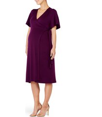 women's ingrid & isabel flutter sleeve knit wrap maternity/nursing dress