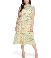 plus size women's cece wisteria vines sleeveless midi dress