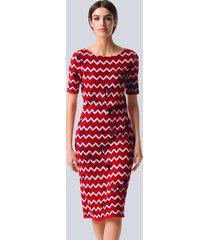 jurk alba moda rood::marine::offwhite