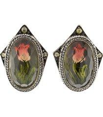 carved tulip diamond stud earrings
