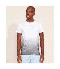 "camiseta masculina slim evolve"" com degradê manga curta gola careca branca"""