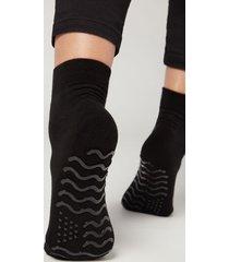 calzedonia women's short non-slip socks woman black size tu