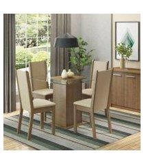 conjunto sala de jantar aline madesa mesa tampo de vidro com 4 cadeiras rustic/crema/pérola