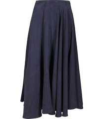 blue cotton-linen blend midi skirt