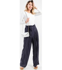 ivory striped front tie pants - navy