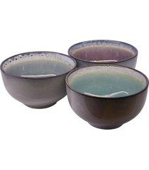 bowl limone jogo c/3 peã§as em cerã¢mica tigela kasa ideia - multicolorido - dafiti