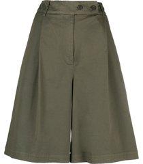 semicouture wide leg bermuda shorts - green