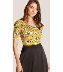 camiseta estampada floral amarillo l