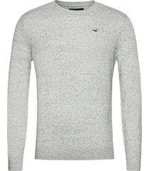 hco. guys sweaters stickad tröja m. rund krage grå hollister