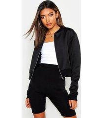 crop bomber jacket, black