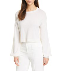 women's alice + olivia ansley bishop sleeve cashmere pullover, size medium - ivory