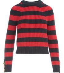 michael michael kors stripe button cuff sweater