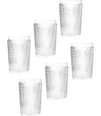 conjunto 6pçs copos rojemac alto bico de jaca transparente 355ml bon gourmet