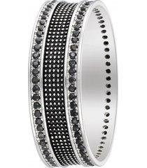 anello in argento 925 rodiato e zirconi neri per uomo
