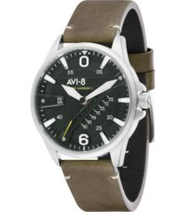 avi-8 men's hawker harrier ii green genuine leather strap watch 45mm