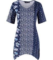 maglietta con mix di fantasie e fondo a punte (blu) - bpc bonprix collection