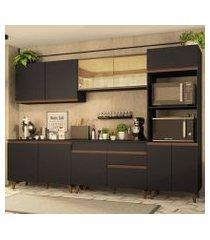 cozinha completa madesa reims 310001 com armário e balcão preto/rustic preto/rustic