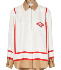 burberry archive society scarf print shirt - white