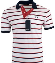 fred perry men's short sleeve cotton pique polo shirt striped s, m, l, xl xxl