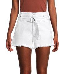 7 for all mankind women's paperbag denim shorts - white - size 34 (12-14)