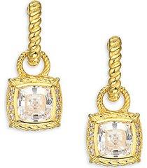 goldplated sterling silver, cubic zirconia & diamonique drop earrings