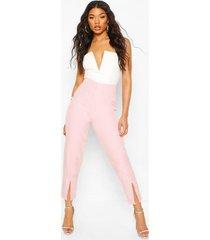 getailleerde geweven broek met voorsplit, roze