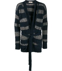 maison flaneur destroyed striped cardigan - blue