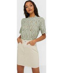 selected femme slfhelena mw jade white denim skirt minikjolar