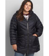 lane bryant women's shirred-side packable puffer jacket 22/24 black