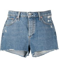 rag & bone misha distressed denim shorts - blue