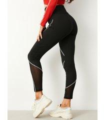 yoins leggings negros con costuras en contraste