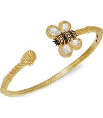goldplated sterling silver & black spinel cuff bracelet