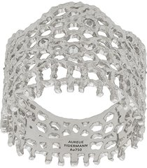 aurelie bidermann 18kt white gold vintage lace diamond ring - metallic