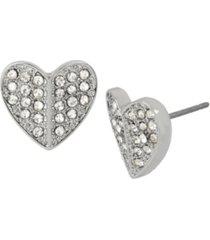jessica simpson pave heart stud earrings