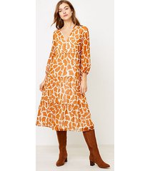 loft petite animal spotted tiered midi dress