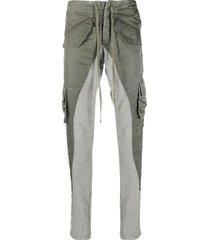 greg lauren slim-fit lounge trousers - green