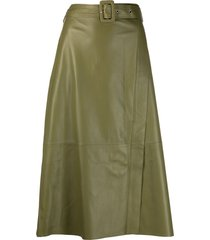 arma a-line leather midi skirt - green