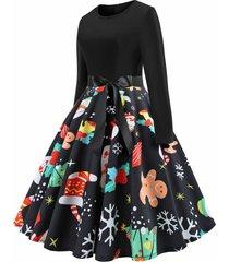 plus size christmas tree snowflake long sleeve dress