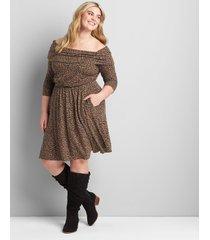 lane bryant women's off-the-shoulder dress 14/16 animal print