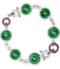 diamond sapphire jade hoop charm bracelet