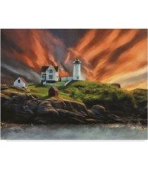 "lois bryan cape neddick nubble lighthouse canvas art - 37"" x 49"""