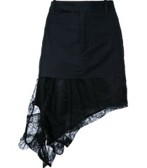 a.f.vandevorst asymmetric lace hem mini skirt - black