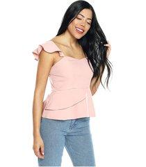 blusa con bolero en cintura rosa