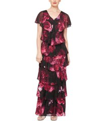 sl fashions petite floral tiered gown