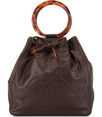 chanel pre-owned structured handles tote bag - brown