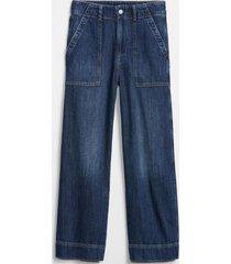 jeans tiro alto wide leg dark wash azul gap